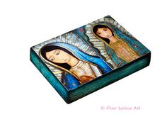 Las Dos Guadalupes - ACEO Giclee print mounted on Wood (2.5 x 3.5 inches) Folk Art  by FLOR LARIOS
