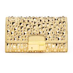 Michael Kors Gia Studded Metallic Leather Clutch Bag ($795) ❤ liked on Polyvore