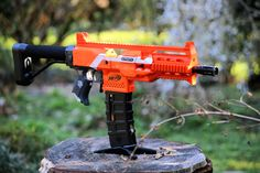 Nerf Stryfe body kit color matched (blue or orange available) Nerf Elite Guns, Arma Nerf, Modified Nerf Guns, Cool Nerf Guns, Arcade Game Room, Nerf Darts, Nerf Mod, Funny Animal Jokes, Concept Weapons