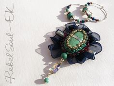 turquoise ble ribbon swarovski crystals bead embroidery RebelSoulEK brooch and earrings