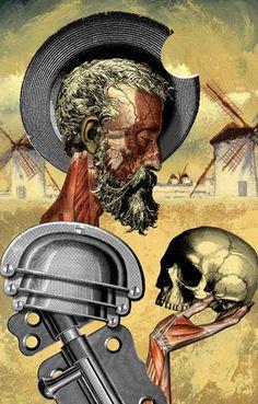 Don Quijote y Hamlet. Ilustración de Fernando Vicente.