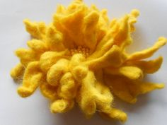 Wool Felted Flower  Yellow  Solar Power Chrisantem by MaijaFeja, $22.00