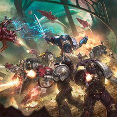 Deathwatch vs Saim-Hann by Rafael Teruel Warhammer 40k Art, Warhammer Fantasy, Warhammer Deathwatch, Tau Empire, Game Workshop, Angel Of Death, The Grim, Space Marine, Concept Art