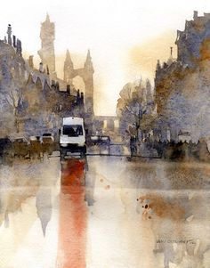 St. Andrews Morning No.2 by Iain Stewart Oil ~ 10 x 8 #watercolor jd