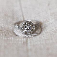 Unique two-tone engagement ring with 'art deco' design.