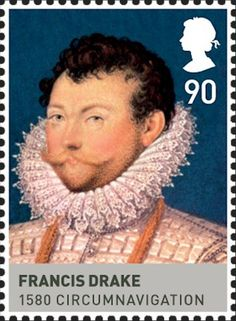 Sir Francis Drake, vice admiral – was an English sea captain, Privateer, navigator and politician of the Elizabethan era. (Age of the Tudors) British stamp 2009 Tudor History, European History, British History, Los Tudor, Uk Stamps, Elizabethan Era, Sir Francis, Postage Stamp Art, Vintage Stamps