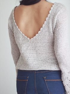 Ravelry: Valentina Sweater Top pattern by Fiorela Garcia Crochet Woman, Diy Crochet, Crochet Top, Crochet Jumper, Crochet Vests, Single Crochet, Double Crochet, Crochet Clothes, Clothing Patterns