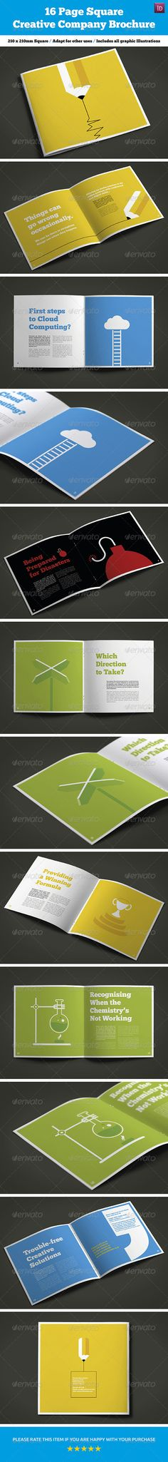 16 Page Square Creative Company Brochure — InDesign INDD #quote marks #consultancy • Available here → https://graphicriver.net/item/16-page-square-creative-company-brochure/7946903?ref=pxcr