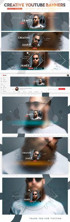 Creative YouTube Banners - YouTube Social Media Youtube Banner Design, Youtube Banner Template, Youtube Design, Youtube Banners, Social Media Template, Social Media Design, Friends Font, Channel Branding, Instagram Banner
