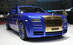 Rolls Royce Ghost blinged up by Mansory into an electric blue Ghost