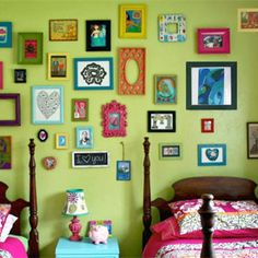 Make a photo collage wall in your home using inexpensive frames spray-painted the color of your choice.