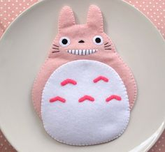 Pink Totoro My Neighbour Big Cute Smile iPhone Camera Felt Case button closure Fairytale Samsung Galaxy S2