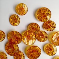 Vintage amber glass buttons from onlygoodbuttons on Etsy. Brutalist Design, Vintage Jewelry, Unique Jewelry, Vintage Pottery, Amber Glass, Contemporary Jewellery, Vintage Buttons, Copper, Trending Outfits