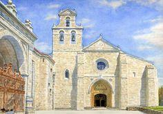 San Juan de Ortega, Camino de Santiago. The Camino, Church Architecture, Illustration Art, Illustrations, Urban Sketchers, Pilgrimage, Watercolors, Notre Dame, Barcelona Cathedral