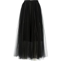 Dorothee Schumacher Sensitive Transparency Tulle Skirt (2.800 RON) ❤ liked on Polyvore featuring skirts, black, see through skirt, high waisted skirts, high rise skirts, sheer skirt and transparent skirt