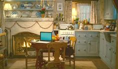 Cottage kitchen decorated for Christmas The Holiday movie All o fthis was a movie set built to resemble a real English Cottage.