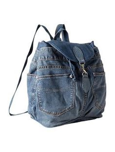 Recycled denim backpack at the Gap.  Gonna make one instead.