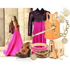 Maxi skirt neon pink fushia