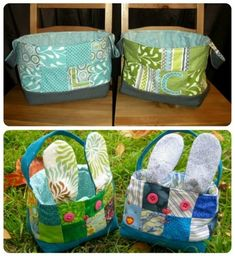 2 Quilted Fabric Boy Baskets