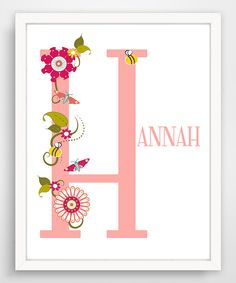 Another great find on #zulily! Pink Floral Letter Personalized Print by Finny and Zook #zulilyfinds