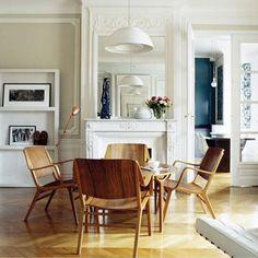 Molding, fireplace, lighting, mid-century modern, herringbone.