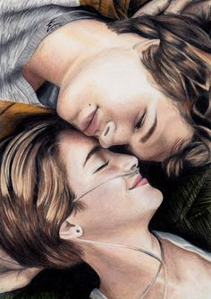 Eliza from the UK has done it again with this lovely drawing of Hazel and Augustus from The Fault in Our Stars– for more of her lovely fan art visit Eliza's gallery.