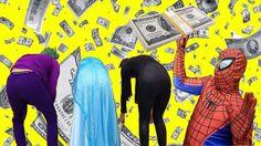 Spiderman Nhặt Dollar Trên Mông Công Chúa Elsa Joker và Catwoman Người N...