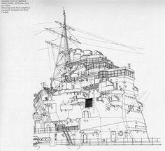 Crucero Takao 1932, estructura de su puente en 1932