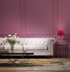Contemporary elegant violet living room with lether sofa