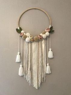 Excited to share this item from my shop: Floral Wall HangFloral Wall hang made to order. All Pom Pom's are made by hand. Macrame Wall Hanging Diy, Macrame Art, Macrame Knots, Etsy Macrame, Macrame Curtain, Macrame Projects, Mural Floral, Floral Wall, Pom Pom Crafts