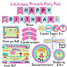 LaLaLoopsy Inspired  Printable Party Pack $25