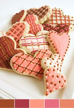 heart cookies in shades of pink and brown