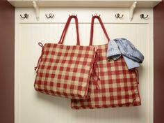 Our Gingham #red #picnic #plaid #burlap #tote with plastic lining. #fashion #handbags #reduce #reuse #recycle