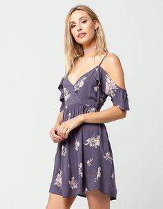 FULL TILT Floral Cold Shoulder Dress