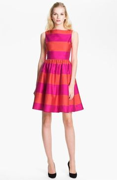Shop this look on Lookastic:  http://lookastic.com/women/looks/hot-pink-horizontal-striped-skater-dress-black-suede-pumps/10844  — Hot Pink Horizontal Striped Skater Dress  — Black Suede Pumps