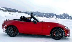 Driving the @MazdaUSA MX-5 Miata on an ice track in Colorado. Top down, of course. #MazdaIceAcademy