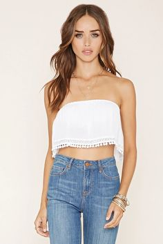 A woven gauze crop top in a strapless design with an elasticized neckline, an elasticized hem on its underlayer, and pom-pom trim along its dainty crocheted hem. Crop Top Outfits, Summer Outfits, Cute Outfits, Teen Outfits, White Lace Crop Top, Lace Crop Tops, Strapless Crop Top, Forever 21, Ladies Dress Design