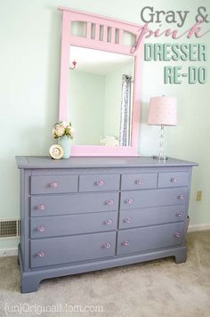 Beautiful dresser transformation with chalk paint.  Love the gray and pink color combination, and those pink acrylic knobs!