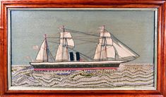 Sailor's Woolwork | English Sailor's Woolwork of a Three-mastered double funnel Merchant Ship | 1880 | Earle D. Vandekar of Knightsbridge Inc. Royal Marines, Sailors, 19th Century, Folk Art, Ships, English, Antiques, Creative, Pictures