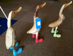 Wooden ducks in boots! Off to find the nearest pond. Lovely Shop, Ducks, Pond, Home Accessories, Dinosaur Stuffed Animal, Boots, Crotch Boots, Water Pond, Home Decor Accessories