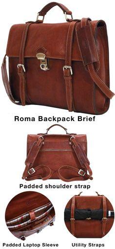 Roma Full Grain Leather Backpack Messenger Bag Brief – Floto