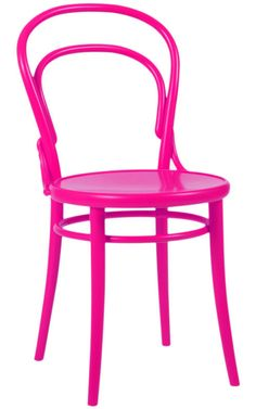 hmmm. not even normally a fan of electric pink (too early 90s) but I do love the idea of taking a standard ho hum chair and painting it- and it kinda does make me like the color.   Good idea for a restaurant in fact...