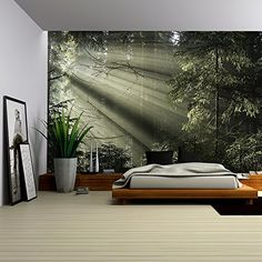 - Sun Light Shining Through The Trees. Bedroom Murals, Home Decor Bedroom, Modern Bedroom, Bedroom Wall, Home Room Design, House Design, Forest Bedroom, Removable Wall Murals, Home Wallpaper