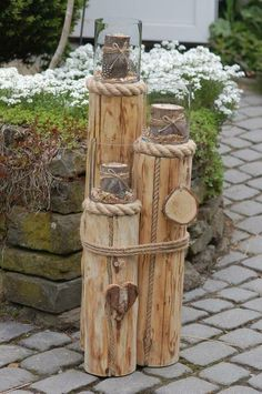 "Wind light columns in a set of 3 ""Maritim"" in North Rhine-Westphalia - Reichshof - Bau . - New Ideas - Gumsulhca Garden Crafts, Garden Projects, Wood Projects, Garden Ideas, Driftwood Crafts, Wedding With Kids, Outdoor Projects, Yard Art, Backyard Landscaping"