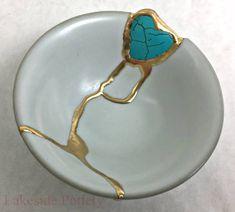 Kintsugi bowl with heart shaped gem stone