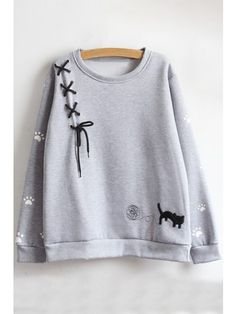 Baycheer / Casual Girls' Long Sleeve Round Neck Lace Up Cat Footprint Printed Loose Fit Sherpa Liner Pullover Sweatshirt Pullover, Sweater Hoodie, Stylish Dresses, Fashion Dresses, Classy Outfits, Cute Outfits, Diy Clothes, Clothes For Women, Jugend Mode Outfits