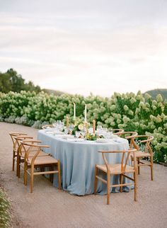 Elegant Outdoor Wedding Inspiration - love the calming color palette for this outdoor reception table