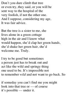 Green, Green is my Sister's House by Mary Oliver