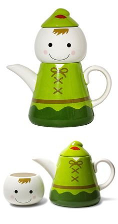 Peter Pan (or Sprite) tea for one stacking teaset (teapot and cup) with head as cup and body in green jerkin as teapot, w/ arms as spout & handle, ceramic
