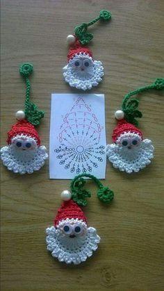 Image detail for -Santa Crochet Doily Centrinho Papai Noel 4 pinkrosecrochet. Crochet Christmas Decorations, Crochet Ornaments, Christmas Crochet Patterns, Crochet Snowflakes, Holiday Crochet, Christmas Applique, Crochet Decoration, Santa Ornaments, Christmas Knitting